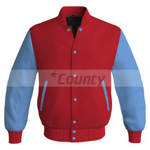 Letterman Super Baseball College Bomber Jacket Sports Red Sky Blue Satin - $49.98+