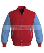 Letterman Super Baseball College Bomber Jacket Sports Red Sky Blue Satin - $49.98+