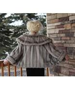 Cerulean Blue Sapphire MINK Fur Cape ~ Gray Silver Mink Shawl Stole Coat... - $425.00
