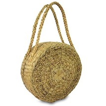 Handwoven Straw Round Shape Tote Purse Bag, Boho Summer Beach Picnic Bas... - €35,90 EUR