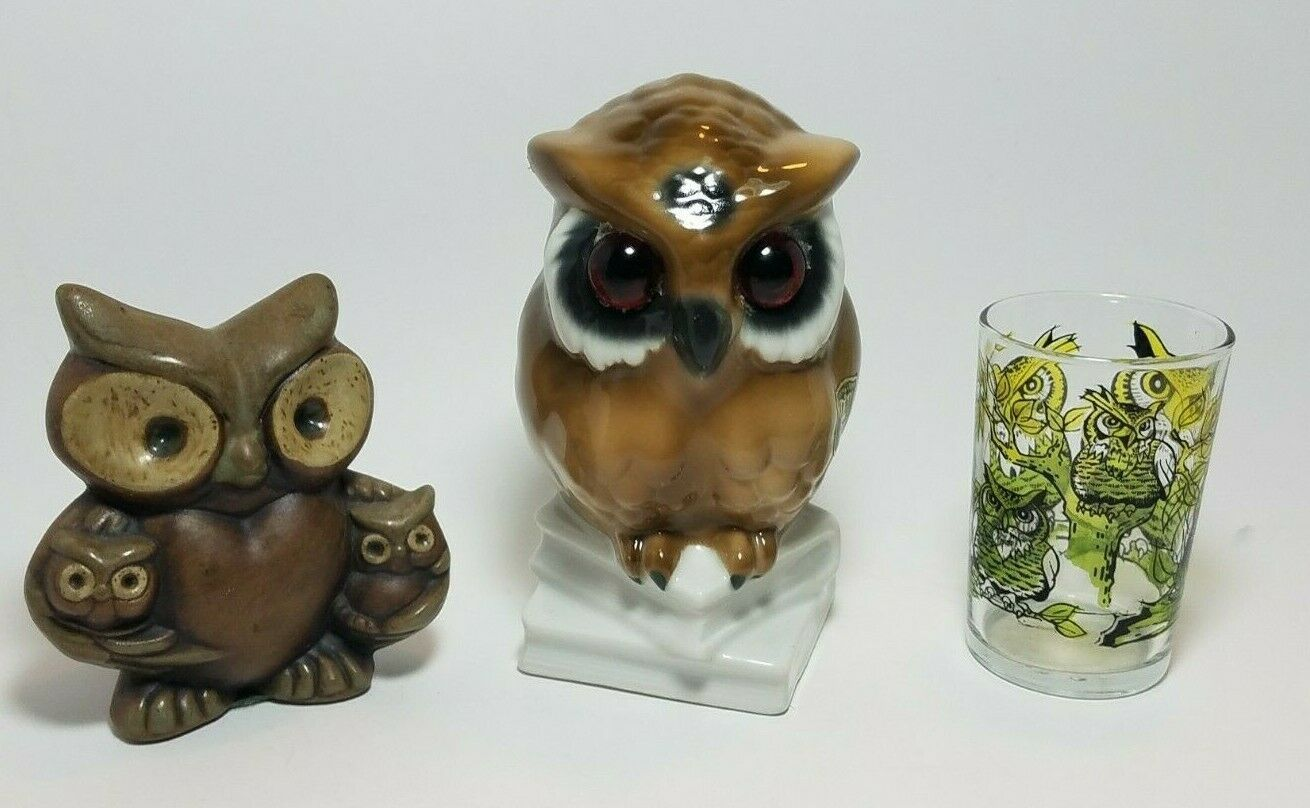 Primary image for Vintage Ceramic Owl Lot Figurines & Juice Glass