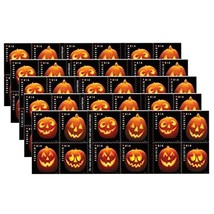 Jack O Lantern 5 Sheets of 20 Stamps 100 Stamps Total Halloween Pumpkin ... - $159.40