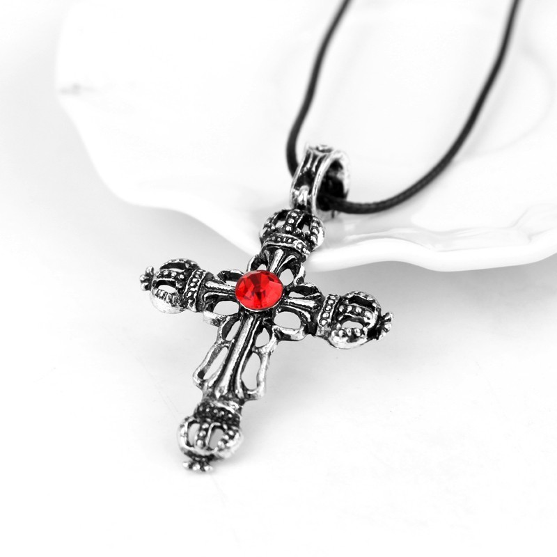 The Vampire Diaries Unique Red and Black Crystal Sacred Crown Cross Necklace