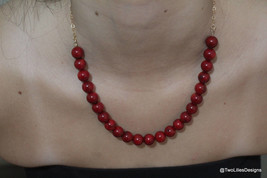 Hot Red beads Necklace, Coral beaded necklace, Red beads gold filled nec... - $48.60