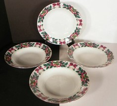 Royal Majestic Holiday Cheer Coupe Soup Bowl (s) LOT 4 Bells Acorns Holl... - $21.73