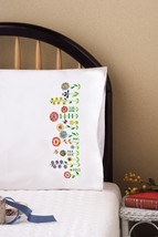 "Tobin Stamped For Embroidery Pillowcase Pair 20""X30""-Whimsy Floral - $18.15"