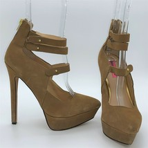 "Betsey Johnson Pennie 5"" High Heel Shoes 7.5B Camel Suede Leather Sexy S... - $37.50"