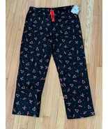 NWT Women's Flannel Sleep Pants/Lounge Pants By Jenni-Black Candy Canes-... - $14.84