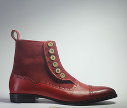 Handmade Men's Burgundy Leather & Suede High Ankle Burnished Toe Buttons Boots image 2
