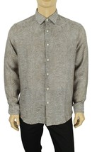 New Mens Tasso Elba Long Sleeve Jacquard Linen Brown Button Front Shirt L $90 - $24.99
