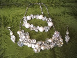 Vintage Necklace & Bracelet AB Crystal & Faux Pearl Beads Wire Earrings ... - $32.50