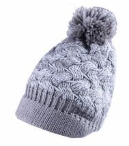 Bench Acrylic Grey White Alanna Peaked Bobble Pom Knit Beanie Winter Hat NWT image 1