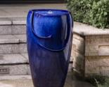Water Fountain Indoor Outdoor Ceramic Blue LED Light With Pump Garden Backyard