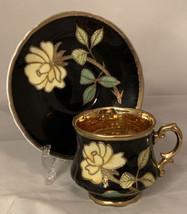Original Arnart Creation Flower Cup & Saucer Black Gold Interior - $18.80