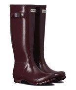 HUNTER ORIGINAL TALL NORRIS FIELD RASPBERRY GLOSS WELLINGTON BOOTS Welly... - £88.14 GBP