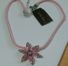 Cookie Lee Silver-tone Pink Crystal Flower Pendant Necklace - $18.99