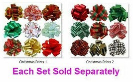 """Christmas Gift Pull Bows - 5"""" Wide, Set of 9, Red, Green, Gold, Stripes,... - $36.79"""