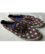 Keds Women's Canvas Lace Up Sneaker Wine White Print 6.5 - $19.71 CAD