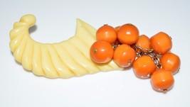 Vintage RARE Color Bakelite Cornucopia Butterscotch Orange Tan Dangle Pi... - $198.00