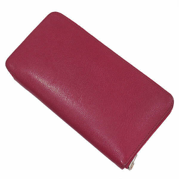 Hermes Azappu long silk in red wallet N engraved Auth