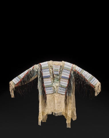 New Native American Handmade Beads Buckskin Buffalo Hide Powwow War Shirt NA139 image 6