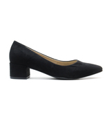 Woman Vegan Point Pump Block Middle Heel Black Suede Lined Breathable Co... - $98.79