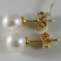 SOLID 18K YELLOW GOLD EARRINGS WITH PEARL PEARLS 8 MM, MADE IN ITALY image 2