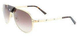 Cartier Santos DE CT0034S 008 61 France Gold Brown Lens Aviator Sunglass... - $890.99