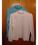 Two (2) SPECULATION Stretch knit mock turtle neck long sleeve Tees/tops ... - $7.92