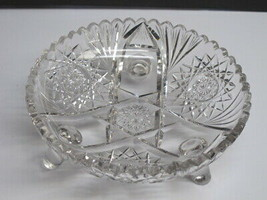 Cut glass ABP 3 leged bowl blown blank Antique - $64.17