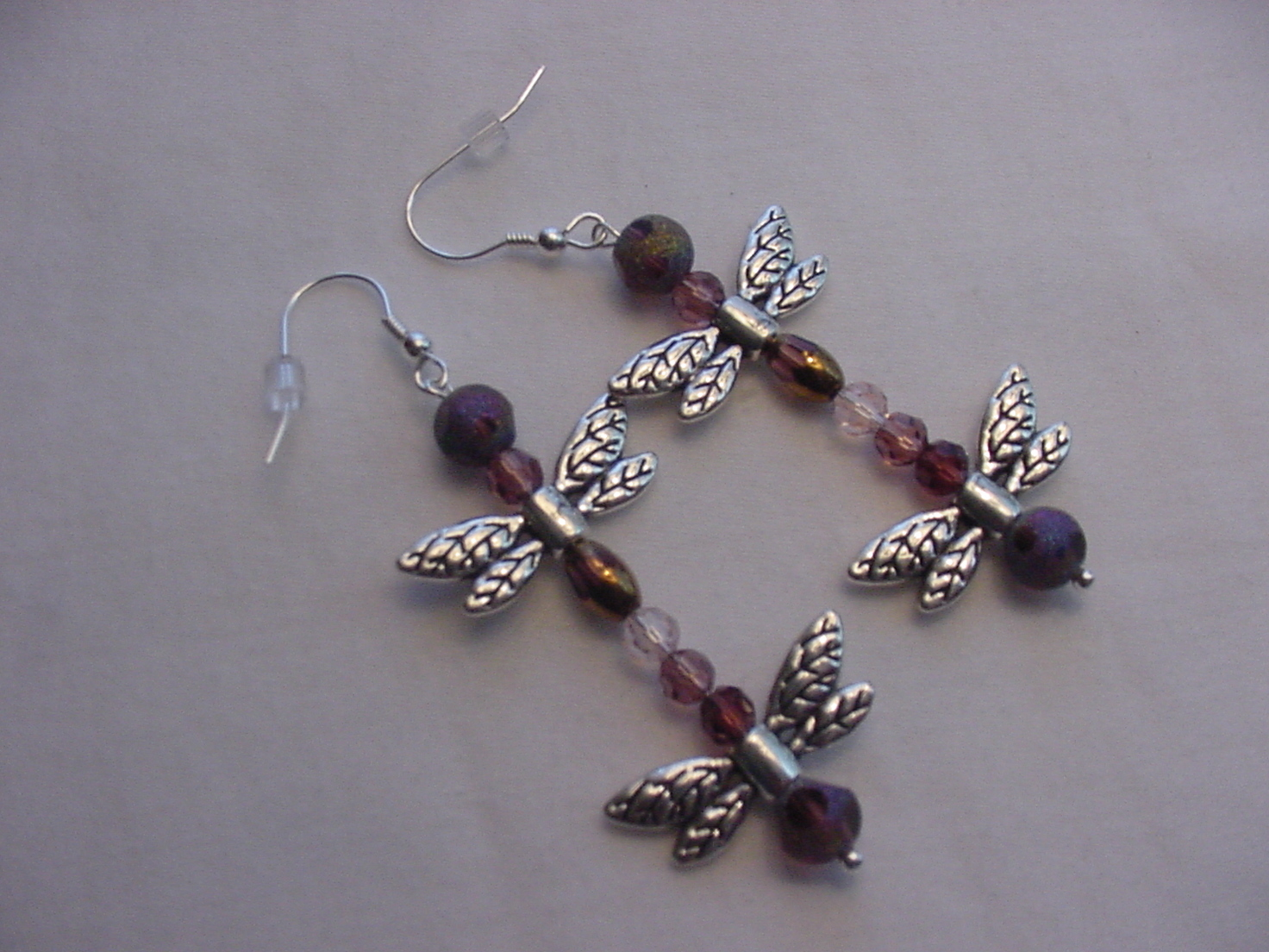 Unique Creations/Ozarks Lavender Crystals Silver Dragonflies Drop Earrings
