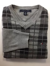 Tommy Hilfiger Men V Neck Sweater Plaid Grey Small Cotton - $21.54