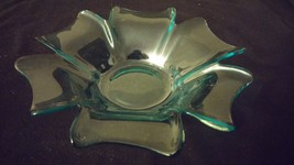 Vintage Blue Antique Glass Coffee Table Dish Bo... - $28.00