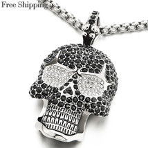 Large Sugar Skull Pendant Necklace for Men Women with Cubic Zirconia and... - £30.21 GBP