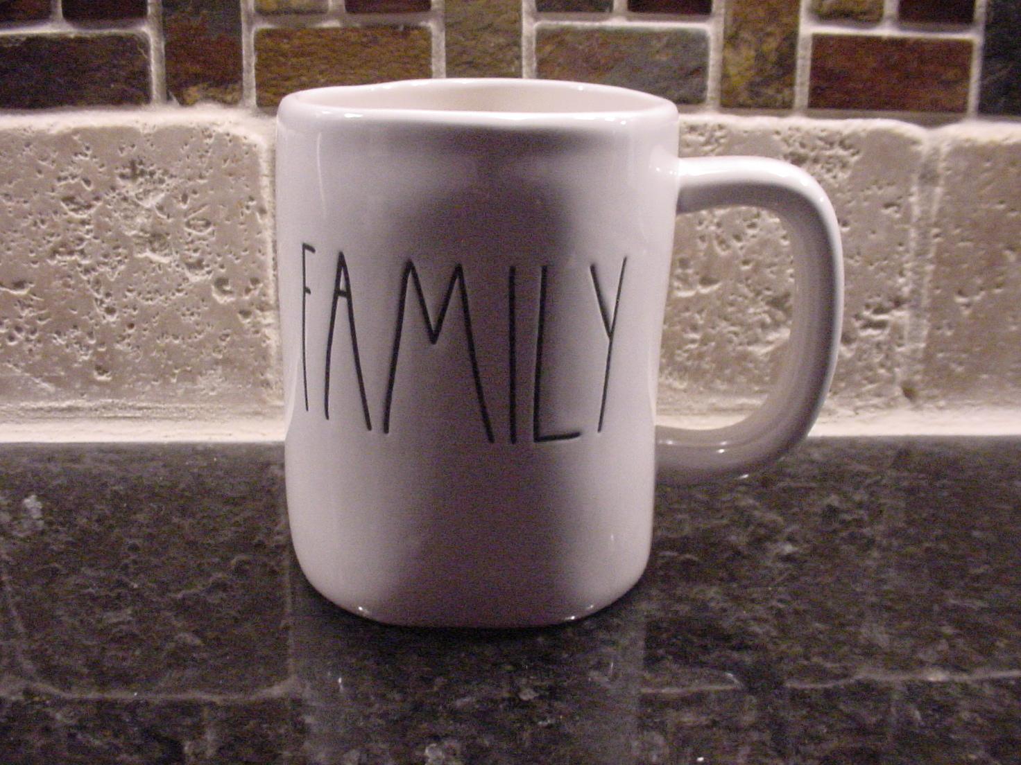 Rae Dunn FAMILY Mug, Ivory with Black Lettering
