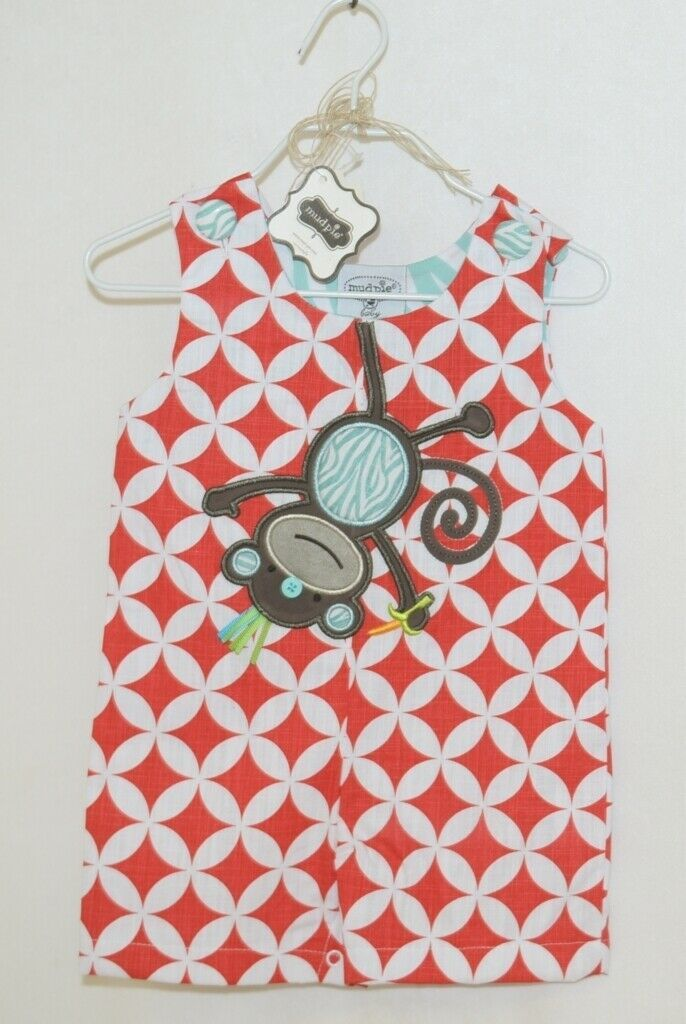 MudPie Monkey Shortall Red White Flower Geometrical Design Size 9 to 12 Months