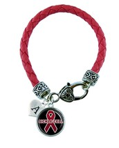 Custom Sickle Cell Anemia Awareness Red Ribbon Leather Bracelet Jewelry Initial - $13.94