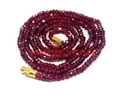 "Natural Indian Garnet 3-4mm Rondelle Faceted Beads 28"" Long Beaded Necklace - $19.87"