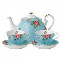 Royal Albert Vintage Polka Blue Tea Set for Two Boxed Set #POLBLU25815 New - $286.11