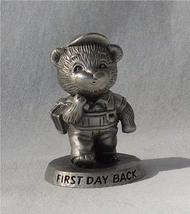 "Avon Pewter First Day Back Bear Figurine 2"" Tall 1983 - $7.83"