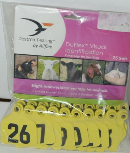 Destron Fearing DuFlex Visual ID Livestock Panel Tags Yellow LG 25 Sets 26 to 50