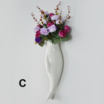 Interior Wall Hung Decorative Fish Shape Vase with Artificial Flowers Home Bar image 7
