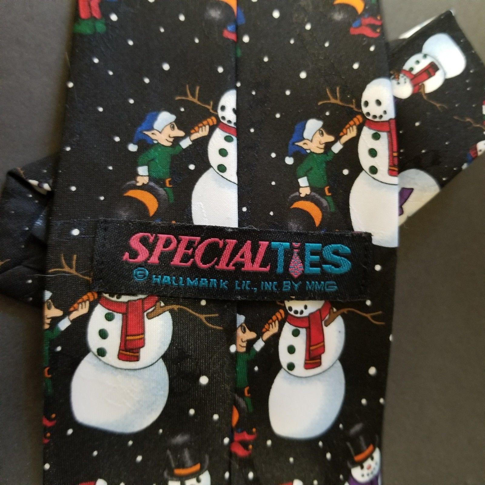 "Men's Tie Hallmark Special Ties Christmas Snowman Elves  59"""