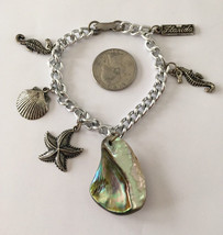 Vintage Floridian large chunky abalone shell and trinkets chain link cha... - $19.00