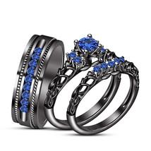 Mens Womens Wedding Trio Ring Set 14k Black Gold Finish 925 Sterling Real Silver - $168.99