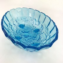 Vintage Blue Aqua BOWL Dish Aquamarine Clear Glass Footed Large Oval 13 ... - $39.98