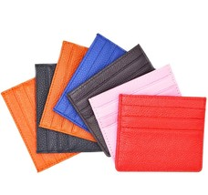 Genuine Leather Slim Credit Card Holder Compact Wallet Slim Super 6 Card Slots - $14.71