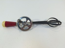 Vintage Egg Beater - A&J - October 9, 1923 - Made in USA - Red Yellow Wood - $19.99
