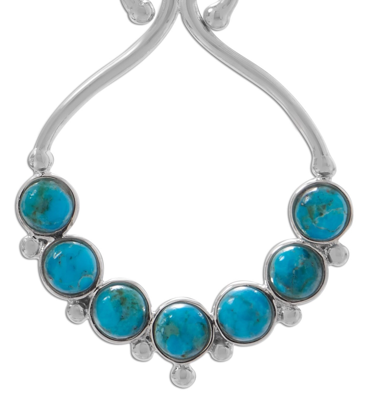 Polished Reconstituted Turquoise Outline and Bead Design French Wire Earri