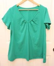 Motherhood Maternity PLUS Size 1X Green V-Neck Short Sleeve Shirt Tee T ... - $11.85